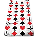 vintage cap Poker Cards Red Black Heart Multi-Purpose Microfiber Towel Ultra Compact Super Absorbent And Fast Drying Sports Towel Travel Towel Beach Towel Perfect for Camping, Gym, Swimming.