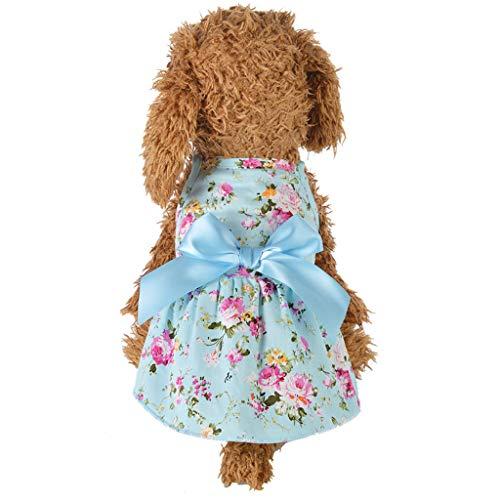 TEBAISE Pet Jupe à Manches Courtes imprimée Simple pour Costume de Chien de Petite et Moyenne Taille Printemps Eté Chemise de vêtements à Nouer avec Noeud (Bleu,S)