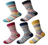 Cimary Femme super épais souple confortable Crew Socks laine épaisse d'hiver 5-pack Mix Colors taille ideal EU35-40 (5 Pair Colour F)
