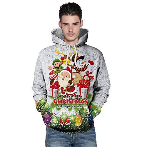 UJUNAOR Unisex Hoodie Christmas Paar Herbst Weihnachten Lässig 3D-Druck mit Kapuze Langärmeligen Pullover(Weiß,EU XL/CN 2XL) (Weihnachten Paar Pullover)