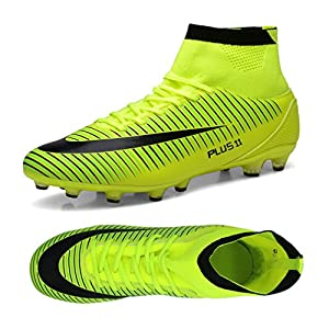 Kids Football Boots Unisex High Top Soccer Shoes Boys Professional Spike Training Shoes Outdoor Sneakers Teenagers Sports Boots Green 3.5 UK