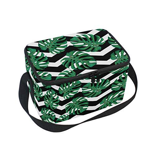 Ahomy Lunchbox Monstera Leaves Chevron Isolierte Lunch-Tasche Kühltasche für Outdoor, Schule, Büro, Lunchboxen