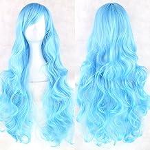 Zinsale 80cm Largo Natural Resistente al calor Lolita Rizado Peluca Cosplay (Azul agua)