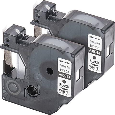 2x Cartucho para impresión de etiquetas compatible con Dymo 40913 D1 en negro sobre blanco 9 mm x 7 m para la LabelManager LabelPoint LabelWriter por ejemplo, para DYMO LabelPOINT & LabelManager LM100 / LM120P / LM150 / LM160 / LMPC2 / LM200 / LM210D / LM220P / LM260 / LM280 / LM300 / LM350 / LM400 / LM260P / LM350D / LM360D / LM420P / LM450 / LP350 / LP100 / LP150 / LP200 / LP250 / LP300 / PC / PC2 / PnP / PnP WiFi / LW400 / LW450 Duo / Pocket 1000 / 1000Plus / 2000 / 3500 / 5000 / 5500