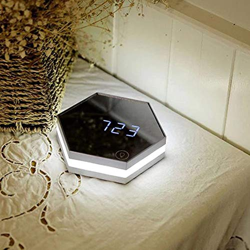 NZYDHK Spiegel Tischuhr Multifunktionale Digitale Wecker Led Kosmetikspiegel Uhr Hexagon Form Wohnkultur Alarm Mit Nachtlicht Splitter