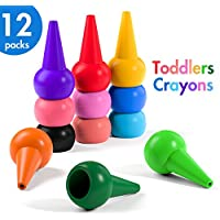 HENMI Finger Crayons,Toddler Crayons,12 Colors Non-toxic Kids Crayons,Washable And Easier Palm-Grip.