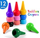 HENMI Finger Crayons, Toddler Crayons, 12 Colors Non-toxic Kids Crayons, Washable And Easier Palm-Grip.