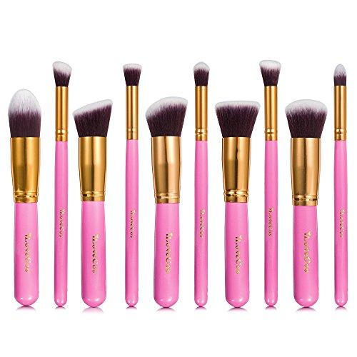 iLoveCos Pinceaux de maquillage Set 10 pièces pinceau de maquillage professionnel poudre anti-cernes contour fond de teint agréable sourcils pinceaux et Eye Liner Rose