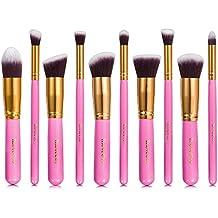 iLoveCos 10 piezas Brochas de Maquillaje Juego de Cepillo de Maquillaje Profesional incluye Polvo Corrector Contorno Fundación Mezclar Cejas Delineador de Ojos y Brochas Color Rosa
