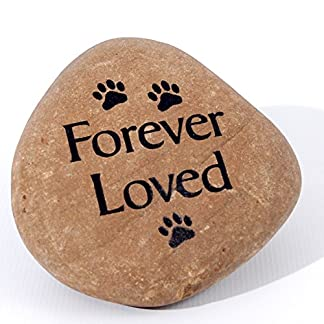 Hand crafted medium pet memorial pebble – forever loved with paw motifs – a special reminder of a beloved pet 51pIVwYR8wL