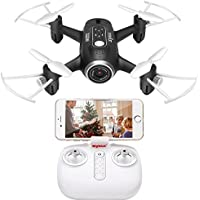 Fytoo FPV Mini Pocket RC Drone con cámara Syma X22W Quadcopter RTF Helicopter Sensor de gravedad Nano Drone Auto Hover Function Modo sin cabeza 2.4Ghz 6 Axis Gyro 4 CH para niños (Negro)