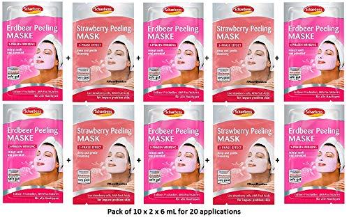 Schaebens Erdbeer Peeling Gesichtsmaske - mit hautfreundlichem Peeling, AHA, Erdbeer-Frischzellen und Kiwi-Extrakt - (10 x 2 Einheiten. 6 mL je Einheit - Für 20 Anwendungen) - Für alle Hauttypen - 20 Einheiten