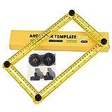 Angleizer Vorlage Werkzeug, Aluminium-Legierung Metall Werkzeug Lineal Winkel Messwerkzeug Verstellbar Stahllineal Bauwerkzeug für Schreiner Tischler Handwerker und Architekt