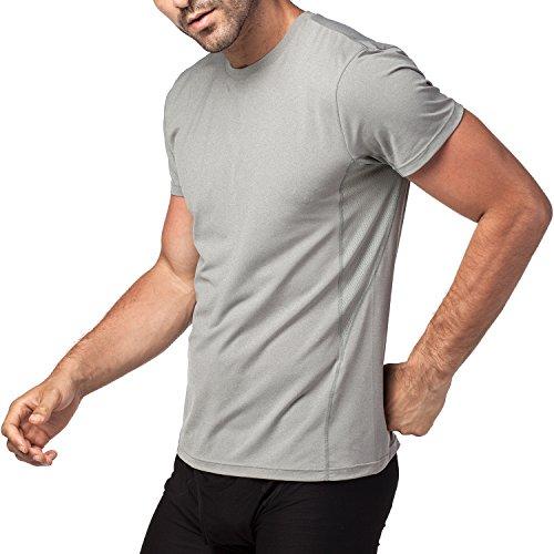 Maglietta-Cupro-da-allenamento-Uomo-Palestra-a-Maniche-Corte-S-Grigio