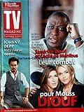 TV MAGAZINE LA NOUVELLE REPUBLIQUE [No 1292] du 06/11/2011 - SANDRINE DIOUF ET CECILE DE MENIBUS - LEUR COMBAT POUR MOUSS DIOUF - JOHNNY DEPP - INTERVIEW
