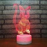 3D Lampara Led Luz Ilusión óptica Botón táctil color o 7 colores cambiar gradualmente Decoración del dormitorio del bebé regalo del día de San Valentín sueño asistido scoiattolo