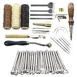 DIY Leder Werkzeug Nähen Set, Leder Handwerk Werkzeuge Handnähen Tool Kit Nähen Werkzeug Ahle Fingerhut Gewachst Thread -Handgemachte Drucke Werkzeuge, Handnähwerkzeuge