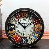 kawaicat Retro Faux Holz Wecker Mini nicht Vintage Classic Wecker mit Hintergrundbeleuchtung, batteriebetrieben Reise Uhr, runde Twin Bell lauter Alarm Uhr braun