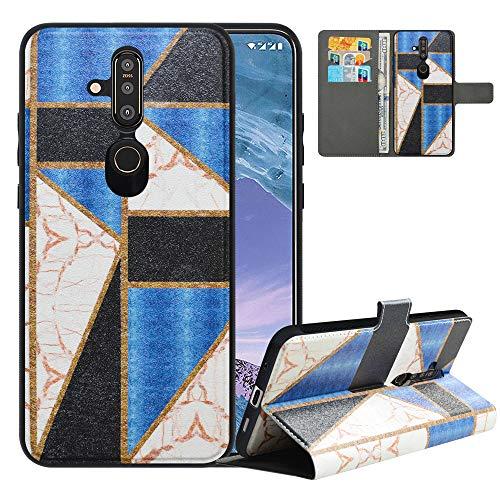 LFDZ Handyhülle für Nokia X71 Hülle,Premium 2 in 1 Abnehmbare PU Ledertasche für Nokia 6.2 Hülle,RFID-Blocker Flip Case Brieftasche Etui Schutzhülle für Nokia X71 Hülle/Nokia 6.2 Hülle,Marble