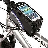 Roswheel Radfahren Mountain Bike Fahrradrahmen Tasche Rahmentasche Oberrohrtasche Handytasche mit transparentem PVC-Fenster für Handys Größe S / M / L (Blue, L)