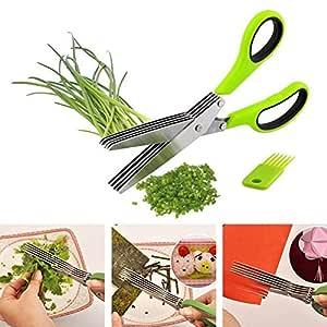 Five Layer Scissor | Multifunction Scissor | 5 Blade Scissor | Vegetable Chopper | Stainless Steel Herbs Scissor - 22 cm x 9 cm x 1.5 cm