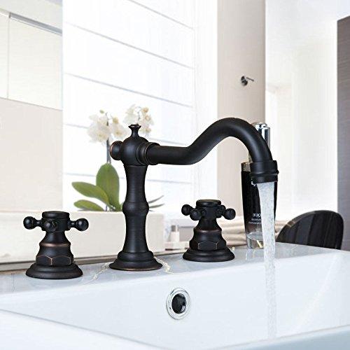 LONGCHL Schwarz Öl eingerieben Bronze Deck montiert 3 Stücke 2 Hebel Badewanne Bad Becken Waschbecken Messing Wasserhahn Mischer Wasserhähne (Badewanne Eingerieben Hardware Öl Bronze)