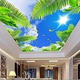 Mddjj Personnalisé Toute Taille 3D Mur De Plafond Murale Photo Fonds D'Écran Bleu Ciel Sunshine Palm Seabirds 3D Stéréo Autocollant De Papier Peint Papel De Parede Sala-300X210Cm