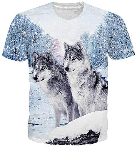 Uideazone beiläufige Mens-Wolf-T-Shirts Short Sleeve Crew Neck T-Shirt Kühles (Fitted Short Sleeve Shirt)