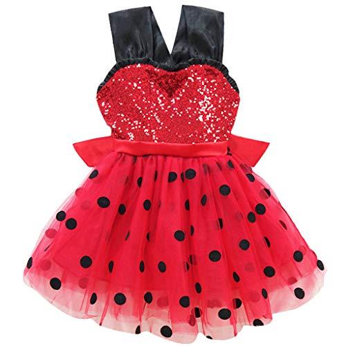 Knowin Ärmelloser Tutu Rock Mesh Baby Prinzessin Tutu Kleid Birthday Party Wedding Dress Roter Wellenpunkt Kostüm Dance Fotografie Sommer Babybekleidung Mädchen Regenbogen Rock