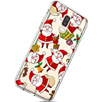 Handytasche Samsung Galaxy J8 2018 Crystal Clear Durchsichtige Hülle Ultradünn Transparent Handyhüllen TPU Bumper Case Silikon Hülle Cover,Weihnachtsmann