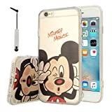 VCOMP Coque silicone TPU Transparente Ultra-Fine Dessin animé jolie pour Apple iPhone 6/ 6s + mini stylet - Mickey Mouse