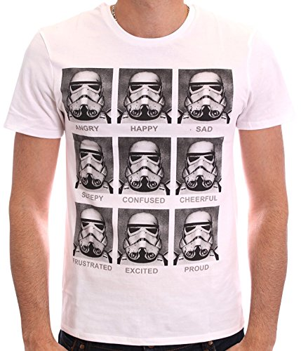 Star Wars Herren T-Shirt, mit Print weiß weiß M (Star Wars Shirt)