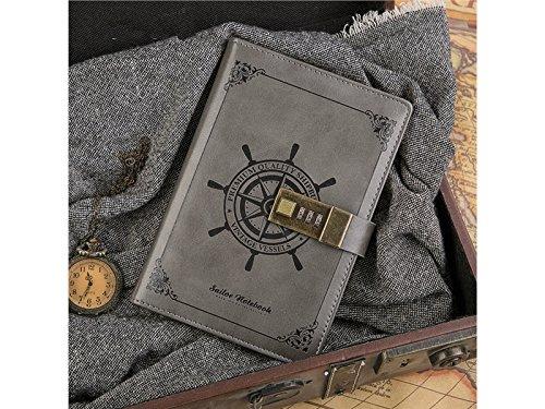 Notizbuch schreiben PU-Leder Vintage Sailor Password Notebook schreiben Journal Tagebuch Draht gebunden gefüttert Daily Notepad persönliche Sketch (grau) Journal-Notizblock - Schreiben Journal Gefüttert