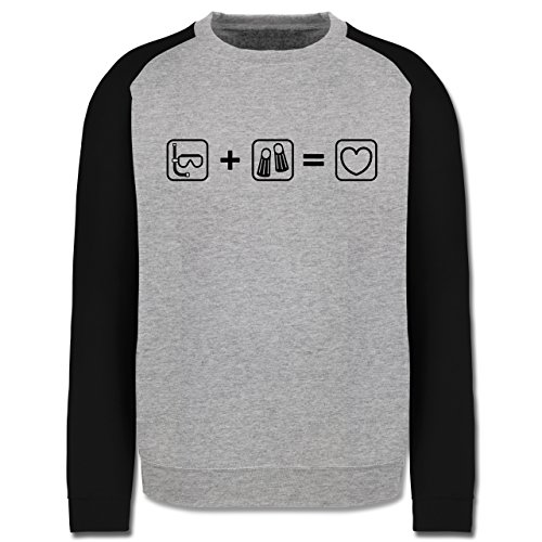 Sport - Taucherliebe - Herren Baseball Pullover Grau Meliert/Schwarz