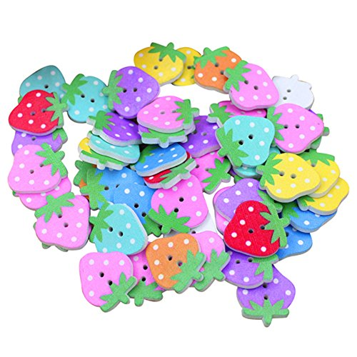 Sintética Ran® 50PCS Multicolor Cartoon Animal 2 agujeros madera Botones de costura, madera, Strawberry, talla única