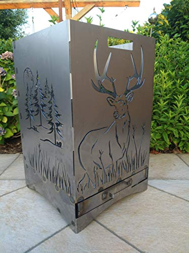 Gartendeko Fockbek Feuerkorb inkl. Aschefach und Zwischenboden sehr stabil Maße ca. 40x40x60 cm (Motiv Hirsch/Wald/Jagd)