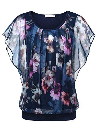 BAISHENGGT Damen Falten Kurzarm Tunika Batwing Rundkragen Bluse Blau-Blumen XX-Large