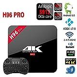 H96 PRO Android 6.0 3GB/16GB TV Box, ShySky Amlogic S912 Octa Core 4K UHD 3D Kodi 17.0 préinstallé plein Loaded Double WiFi 2.4G/5G Bluetooth 4.0 1000M Ethernet Streaming Media Player (H96 PRO 3GB/16GB + I8 Clavier sans fil Noir)