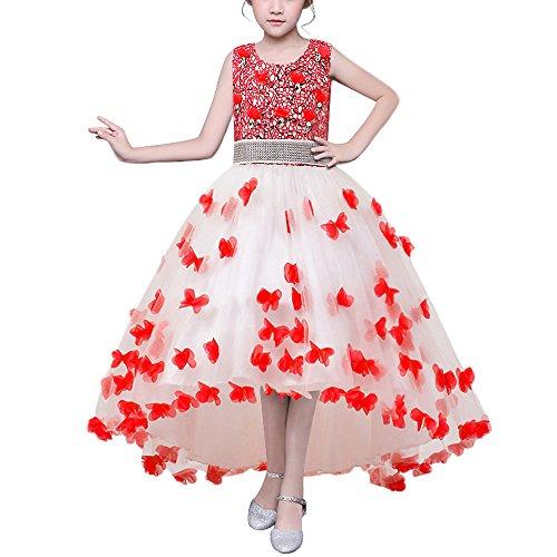 HUAANIUE Mädchen Abendkleid Prinzessin Kleid Lange Röcke Kostüme Gastgeber Hochzeit Blumenmädchen Rot 120 (Rote Prinzessin Kostüm)