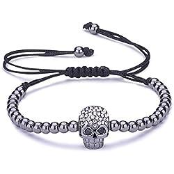 Infinito U - Pulsera Mujer Niños, Pulsera Cráneo con Cadena Cuerda de Algodón, Color de Negro