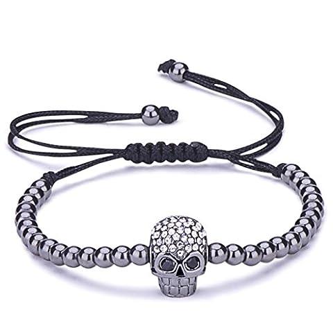Infinite U Fashion Punk Skull Womens Charm Bracelet Beads Balls Braided Cotton Rope Alloy Cubic Zirconia Adjustable Wristband Bangle, Black