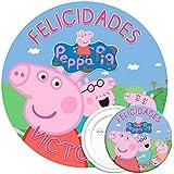COMBO de oblea y chapa personalizadas, 19 cm y 77 mm, diseño de Peppa Pig Familia