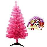 StillCool Weihnachtsbaum Künstlicher Tannenbaum Christbaum Weihnachtsdekoration künstliche Tanne mit ständer inklusive Laternen Fliege Weihnachtsmann Fröhliche Weihnachten (60cm Rosa)