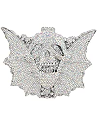 Bonjanvye Shining Skull Shape Clutch Purses and Handbags for Hollaween Party