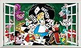 Chicbanners Alice im Wunderland V009Alice Through The Looking Glas Mad Hatters Tee Party Voll Farbe Magic Fenster Bild Wandtattoo Wandbild Poster Größe 1000mm Breit x 600mm Tief (groß) V003