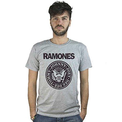 T-Shirt Ramones, maglietta grigia con logo musica punk rock stile invecchiato