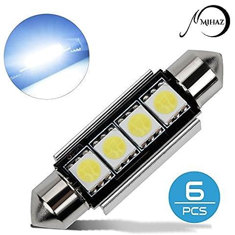 Mihaz 6 x-Auto-Haube 5050 SMD LED Canbus Birnen-Licht-Innenfirmen-LED 42MM weiß