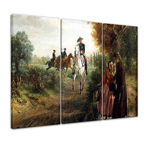 Wandbild Adolph von Menzel Die Bittschrift (Der Spazierritt) - 150x90cm mehrteilig quer - Alte Meister Berühmte Gemälde Leinwandbild Kunstdruck Bild auf Leinwand