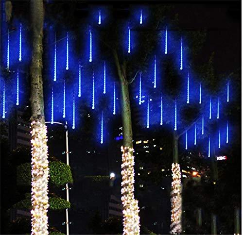 AILEYOU Meteorschauer Regen Licht 30 cm 8 Spiralrohr LED Wasserdicht Eiszapfen Schneefall String Licht Hochzeit Garten Baum Dekoration (Blau) -