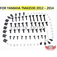 VITCIK Kit Completo de Tornillos y Pernos de Carenado para Yamaha TMAX530 2012 2013 2014 TMAX 530 12 13 14 Clips de Sujeción en Aluminio CNC de La Motocicleta (Negro & Plata)